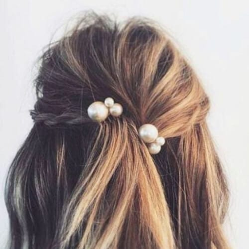pearls prom hairstyles for short hair