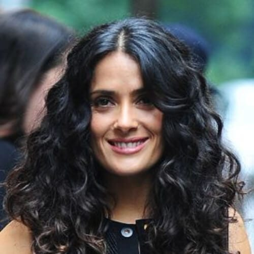 salma hayek long curly hairstyles