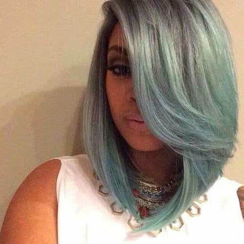 sea foam gray bob hairstyles for black women