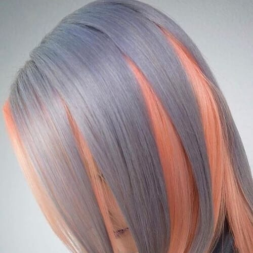 winter gray rose gold peekabo highlights