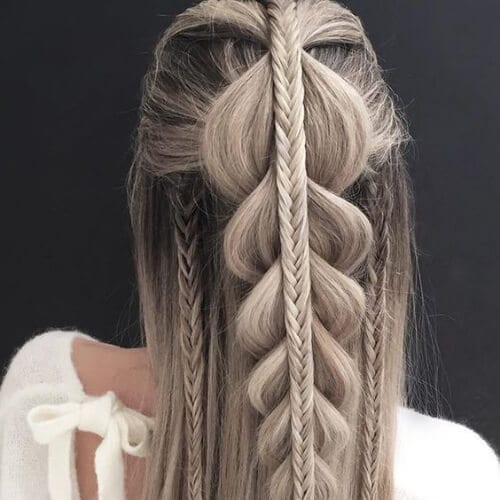 cola de pescado y las trenzas, peinados para cabello lacio