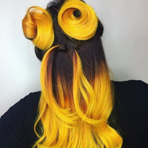 black and yellow cool hairstyles for girls
