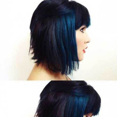 dark blue short hair with highlights