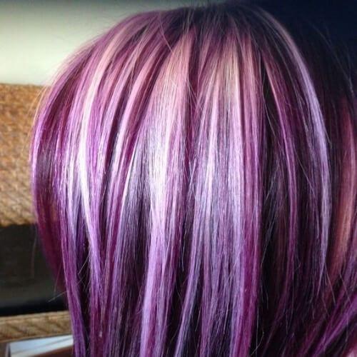 platinum on purple high highlights and lowlights
