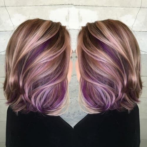 purple on glonde high highlights and lowlights