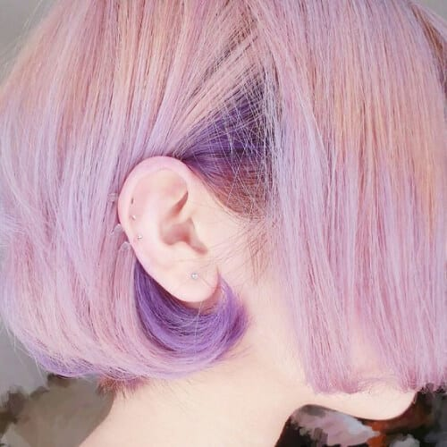 purple on pink short hair with highlits