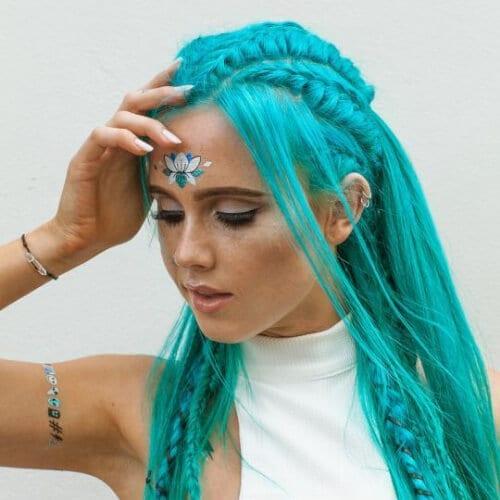 teal braid hairstyles for long hair