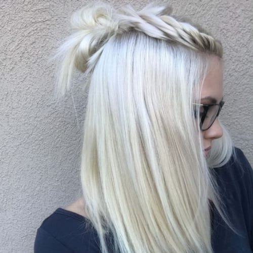 top crown braid ice blonde hairstyles