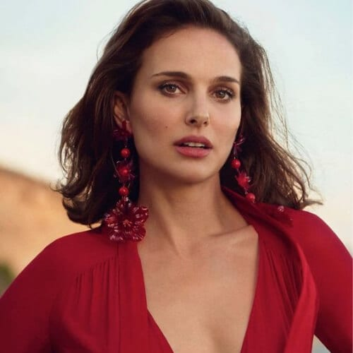 natalie portman Dior dress with Isabel Marant earrings chestnut hair color