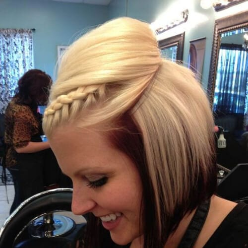 Braided Bang hairstyles with Bouffant Look