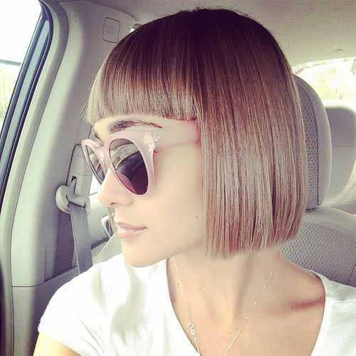 blunt bangs short haircuts for straight hair