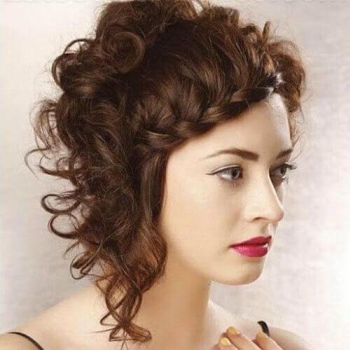 curly asymmetrical bob braided bang hairstyles