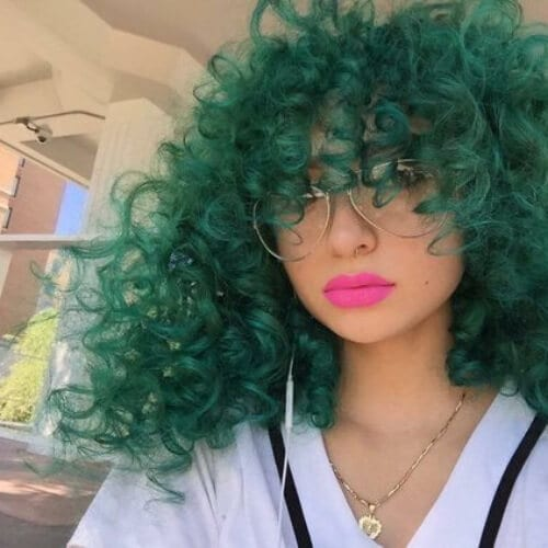 forest green curly hair with bangs