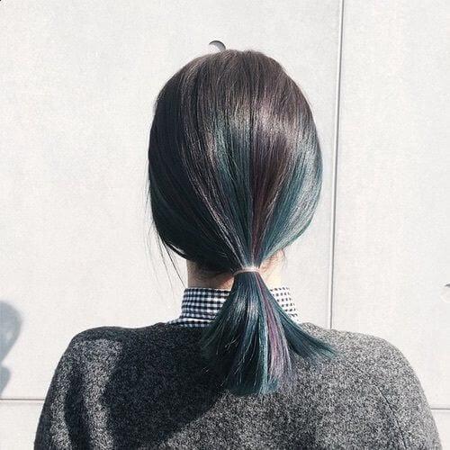 green ponytail short haircuts for straight hair