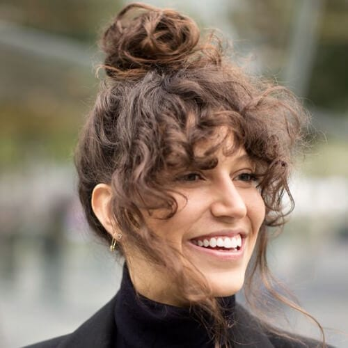 50 Funky Curly Hair with Bangs Ideas - My New Hairstyles