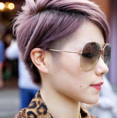 purple undercut short haircuts for straight hair