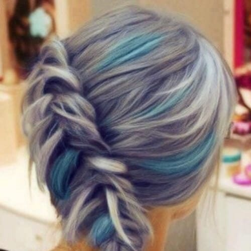 silver turquoise braid side hairstyles for prom