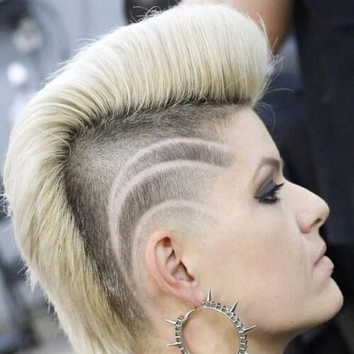 Pompadour Mohawk with Detailed Sides short punk hairstyles