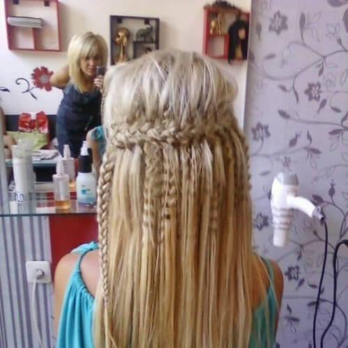 Waterfall braid with crimped pieces crimped hairstyles