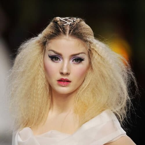dior crimped hairstyles