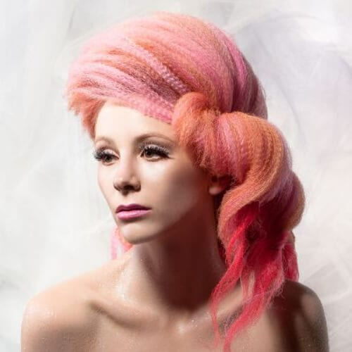 pink crimped hairstyles