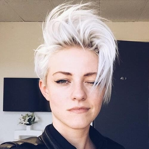 short disheveled platinum blonde short punk hairstyles