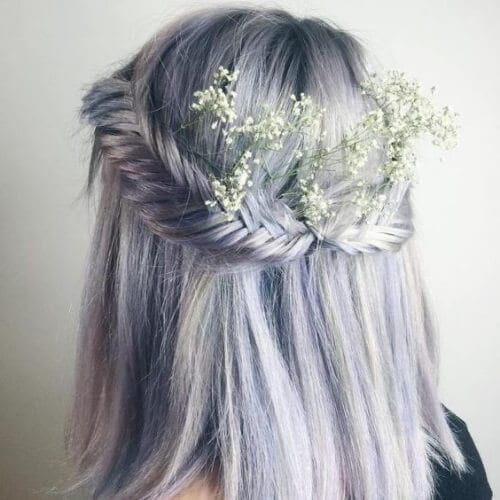Braided Lavender Hair Brides wedding hairstyles for short hair