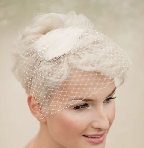 ivory birdcage veil wedding hairstyles for short hair