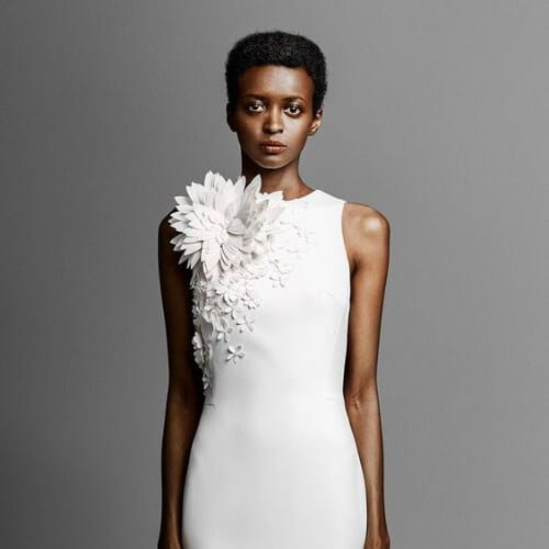 viktor and rolf spring 2019 bridal strapless sweetheart neckline heavily embellised bodice simple minmalist sheath wedding hairstyles for short hair