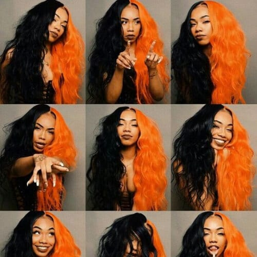 black and orange two tone hairstyles