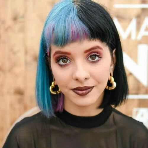 blue black purple peekaboos two tone hairstyles