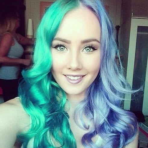 blue green two tone hairstyles