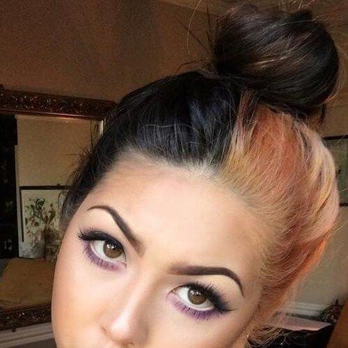 bun two tone hairstyles