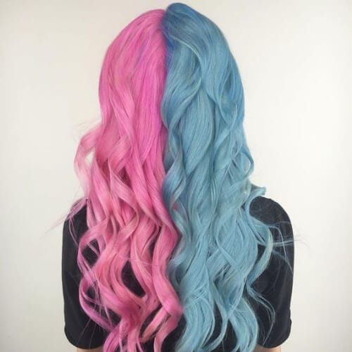 cotton candy pink gray blue two tone hairstyles