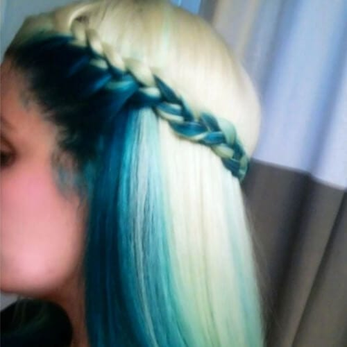 marine blue and blonde two tone hairstyles
