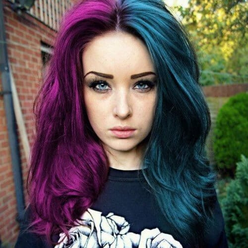 purple and turquoise two tone hairstyles