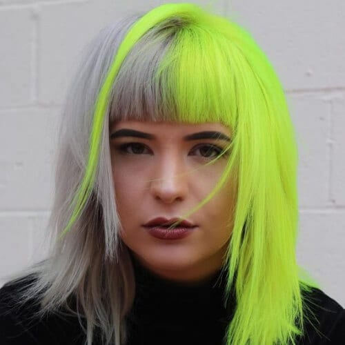 silver neon yellow two tone hairstyles