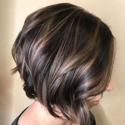 Chocolate Bob with Layers and Subtle Highlights a line bob haircut