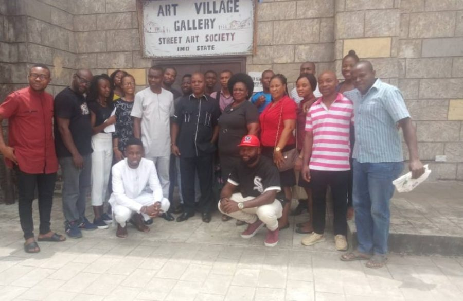 Imo Arts Street Artists with Permanent Secretary, Ministry of Tourism, Culture and Creativity, during a visit to Imo Arts Village Gallery, Freedom Square, Owerri, on Monday