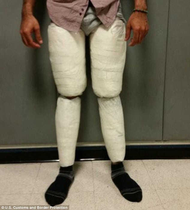 10 pounds of cocaine strapped to a man's legs at JFK