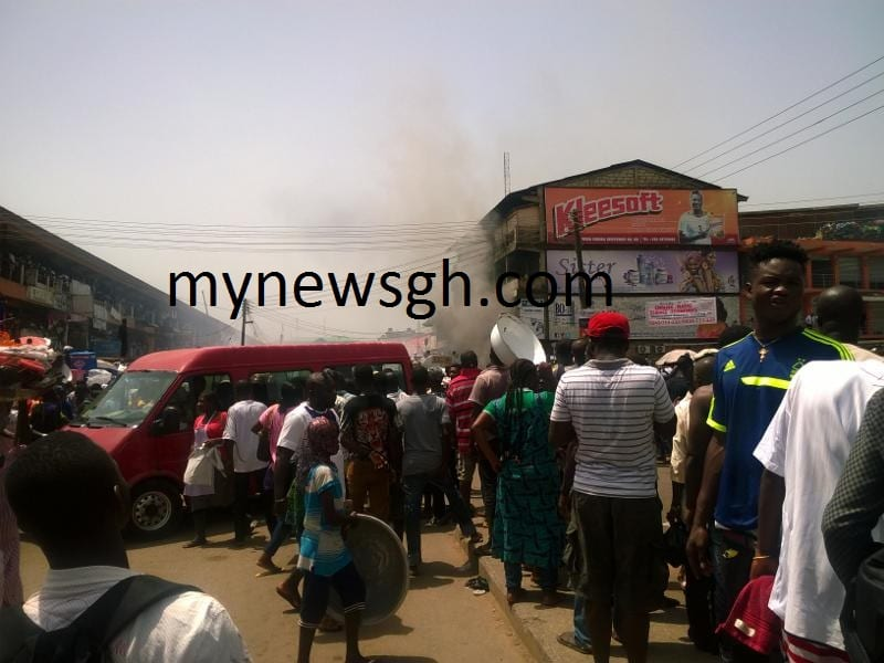 Fire Guts Shops at the new Kumasi Central Market