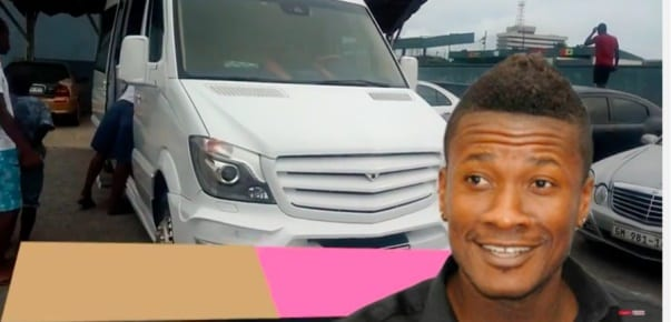 Asamoah Gyan shows off his Benz bus with Gold trimmed seats