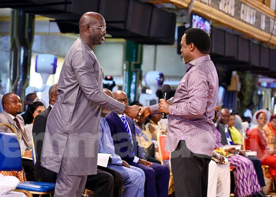 George Weah visit's TB Joshua's SCOAN ahead of run off