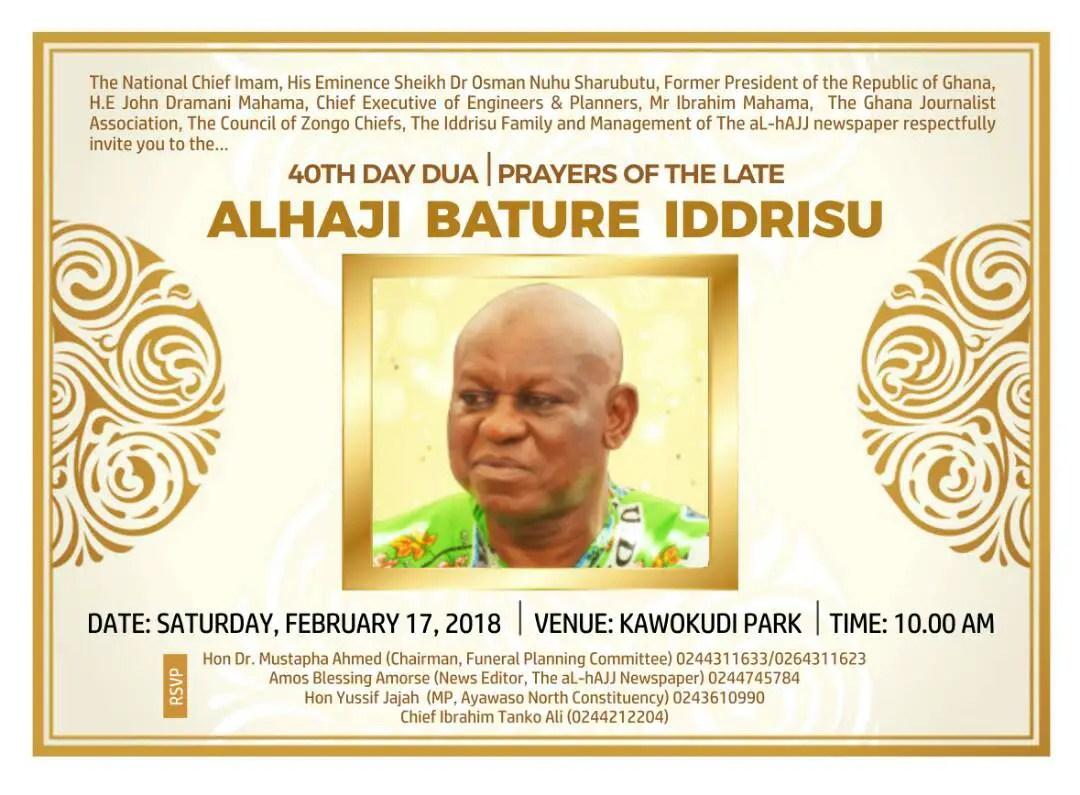 Alhaji Bature's 40 days Funeral rites set for Feb. 17