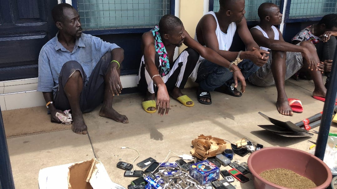 PICTURES: Tema police grab 15 suspected drug peddlers using DRONES