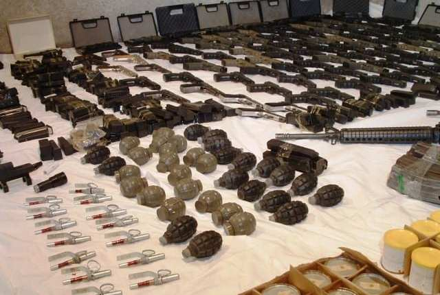 File image of bombs and guns