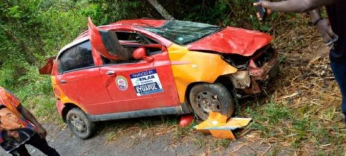 JUST IN: National Service Personnel Dies Instantly After Taxi somersaults 3 times (PHOTOS) 3