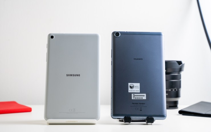Samsung Galaxy Tab A 8 with S Pen vs Huawei MediaPad M5 Lite 8 Design
