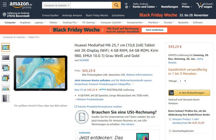 Huawei MediaPad M6 on Amazon Germany