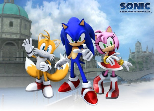 Sonic Tails and Amy in Soleanna wallpaper